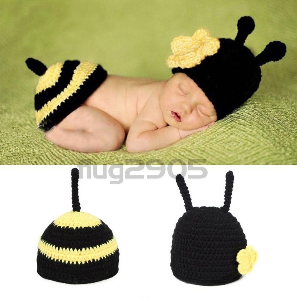 Neugeborene Baby Knit Strick Fotoshooting Pinguin Penguin Kostüm Hüte Schlafsack