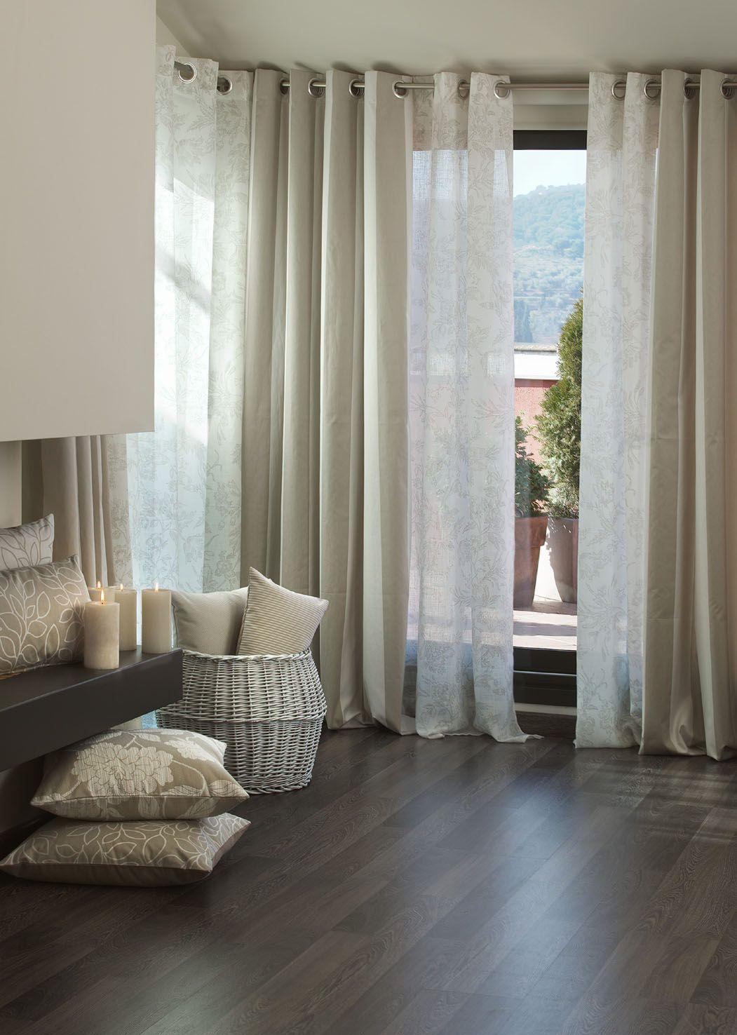 Visillos y cortinas en una sola barra buscar con google for Visillos dormitorio