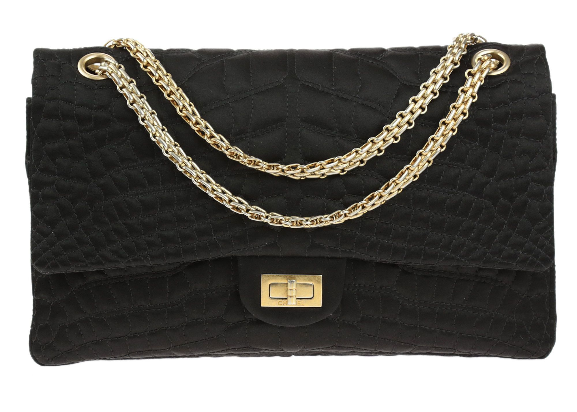 f6515f9d3cbd This Chanel Black Croc Embroidered Satin 2.55 Reissue 226 Double Flap Bag  is a fun twist on the classic flap bag! This bag features crocodile  stitching on ...