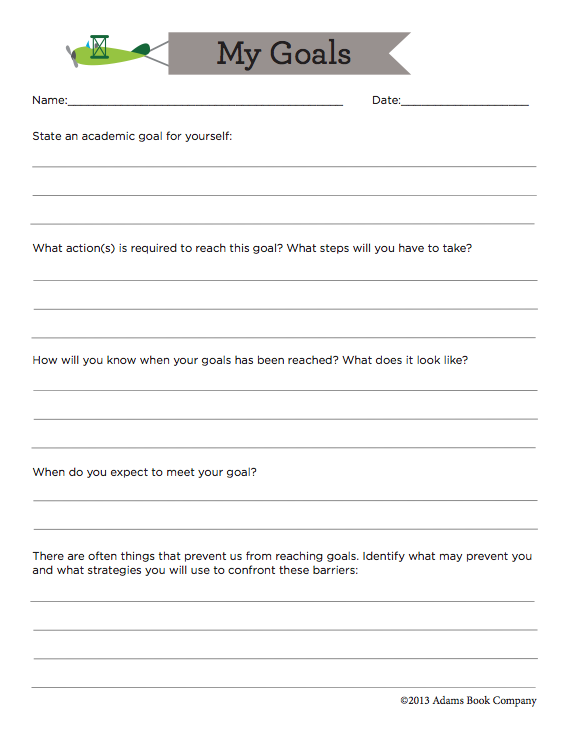 Free Goal Sheet For Middle And High School Students To Identify