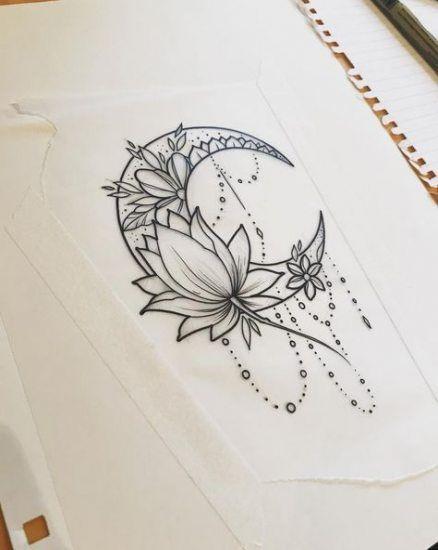 44 Ideen für Tattoo Moon Design Lotusblumen #tattoos – Beste Tattoos Best Tattoos #flowertattoos