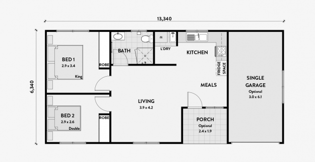 Executive 2 Bedroom Granny Flat In 2020 Granny Flat Plans Floor Plans Granny Flat