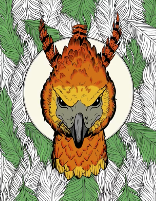A Halfway Coloured Page Of Fawkes From HarryPotter Colouring Book Magical Creatures
