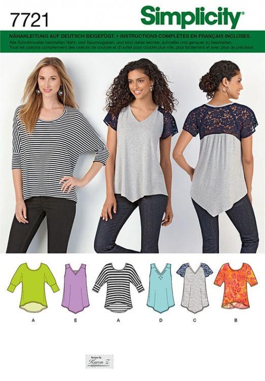 7721 Simplicity Schnittmuster Shirts | Nähen | Pinterest | Nähen ...