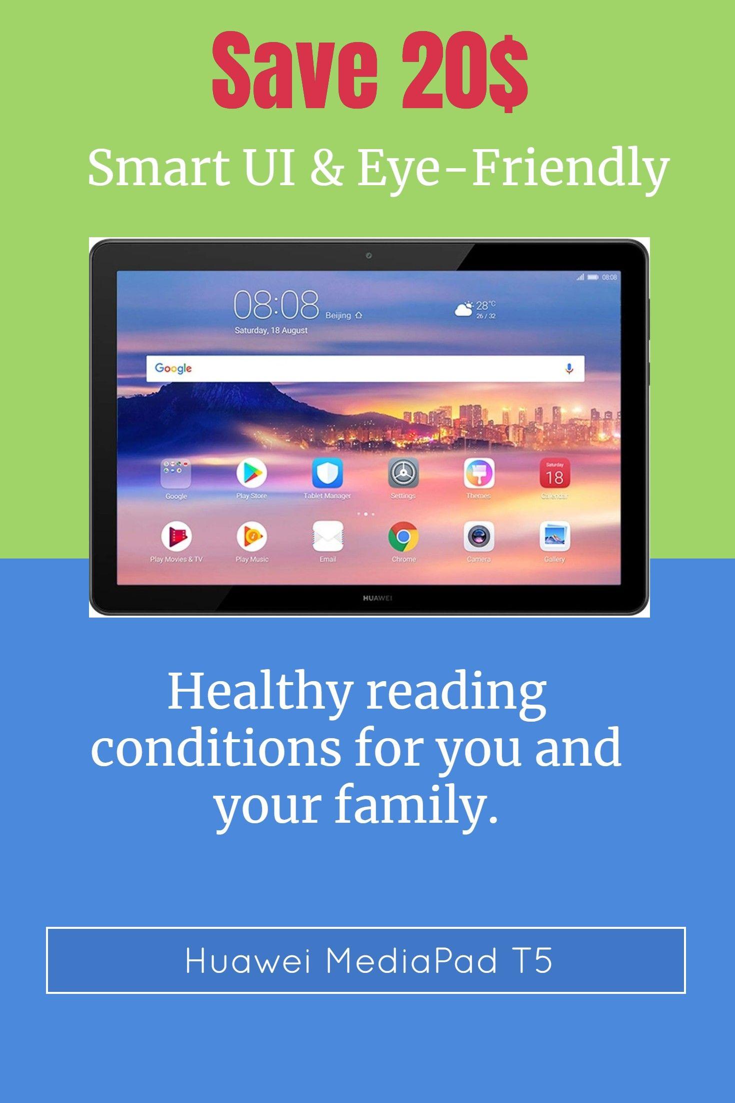 Huawei Android Tablet Mediapad T5 With 10 1 Ips Fhd Display Octa Core Dual Harman Kardon Tuned Speakers Wifi Only 2gb 16gb Huawei Android Tablets Tablet