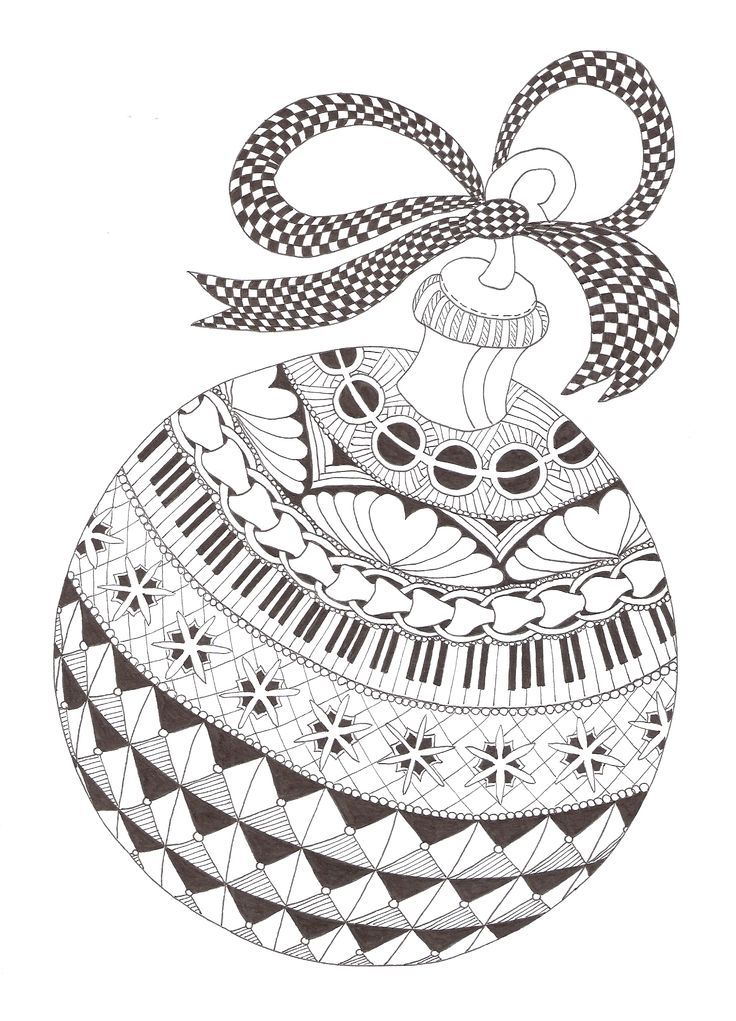 Christmas Ornaments Coloring Pages Zentangle patterns