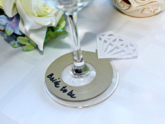 Bridal Shower Drink Tags Wine Gl Charms By Trimandtinsel 9 25