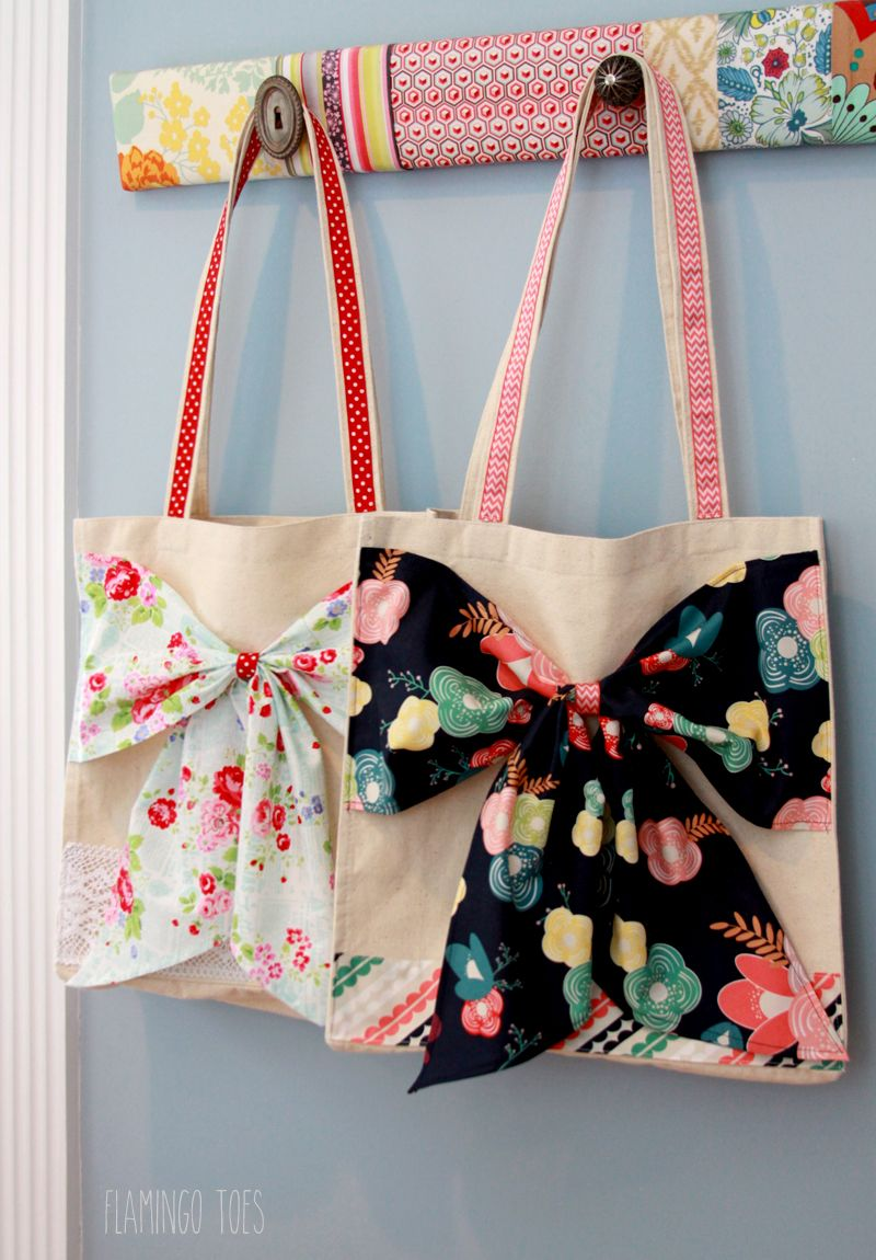 Fabric and Lace Bow Tote - | Nähen