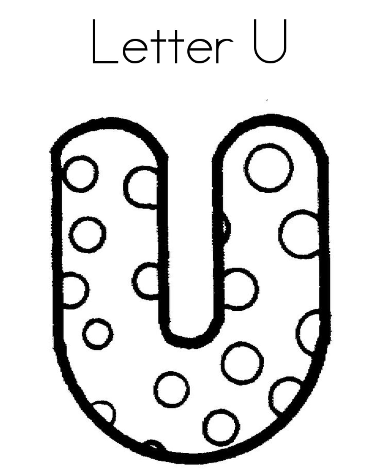 Letter U Dots Alphabet Coloring Pages Free