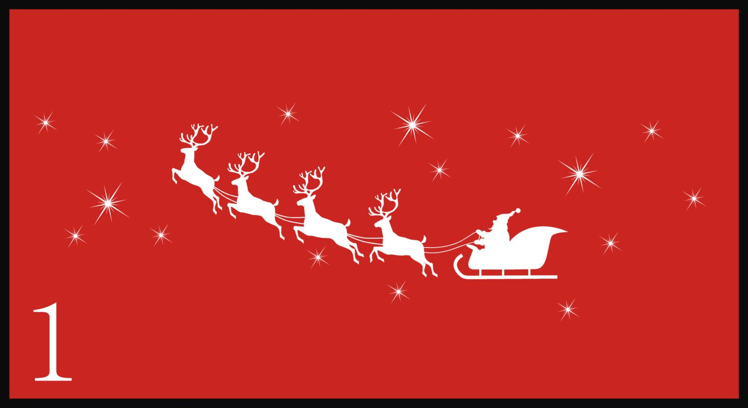 Santa Sleigh with Reindeer Wall Decal, Christmas Wall Decal, Holiday Wall Decal by EyeCatcherDecals on Etsy