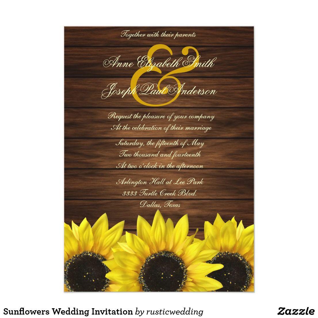 Sunflowers Wedding Invitation Sunflower