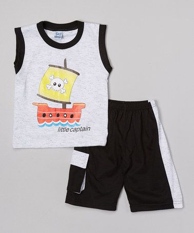 Loving this Gray 'Little Captain' Pirate Tank & Shorts - Infant & Toddler on #zulily! #zulilyfinds