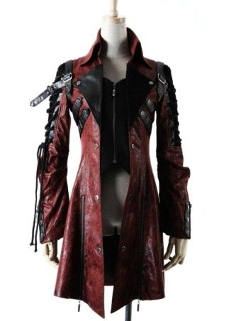 Red and Black Long Sleeves Leather Gothic Trench Coat for Women and Men - Devilnight.co.uk