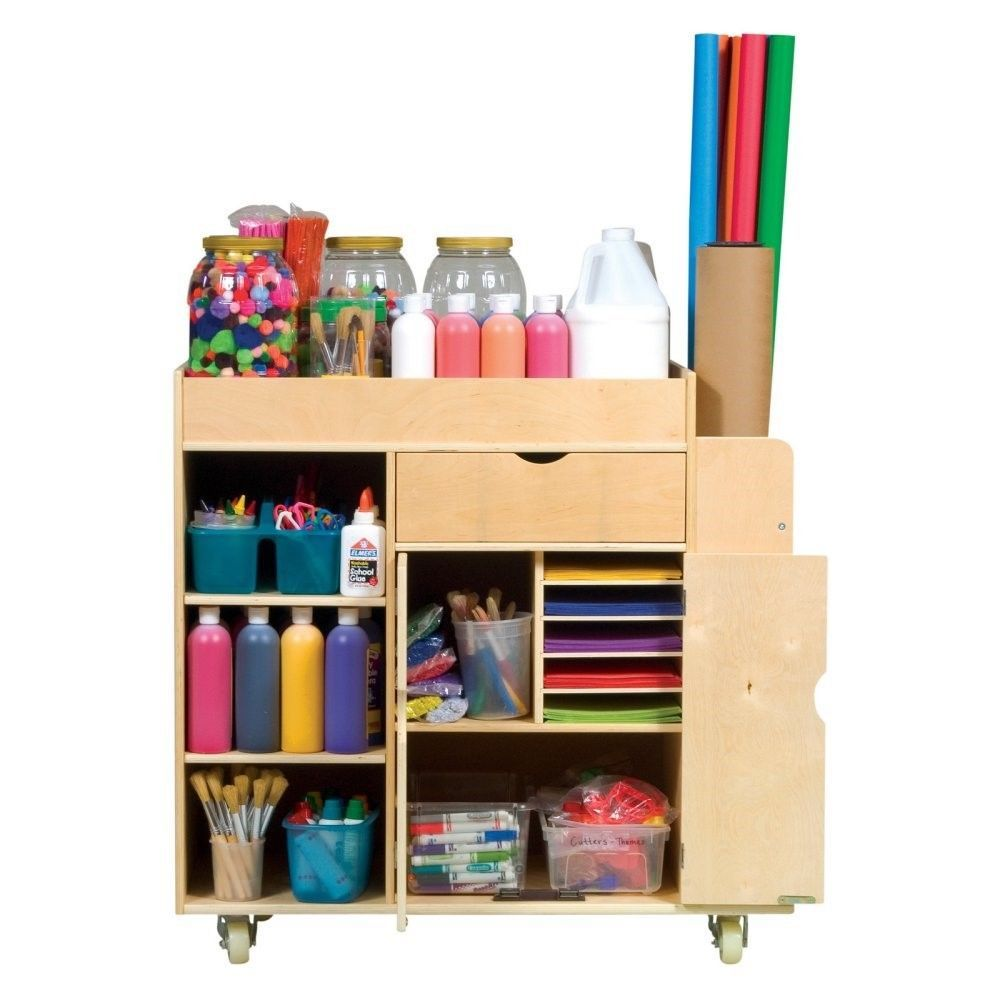 Guidecraft g98202 kids art supply activity wooden rolling