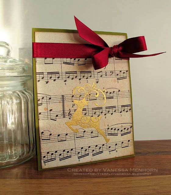 Christmas card ideas. And here is another card using Hero Arts stamps, some sheet music and Tattered Angels mist: