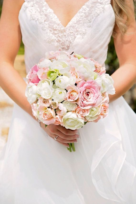 Wedding bouquet bride bouquet peach pink ivory and green this bouquet is made of subtle shades of blush pink ivory and green ranunculus with pink roses that are silk flowers wrapped with ivory mightylinksfo
