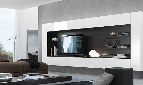 exciting modern tv wall units living room   33 Modern Wall Units Decoration from Jesse   Plaukti ...