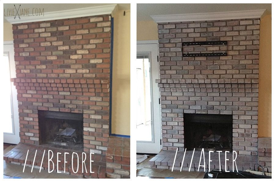 How To White Wash Brick Painted Brick Fireplaces White Wash Brick Fireplace Brick Fireplace Makeover