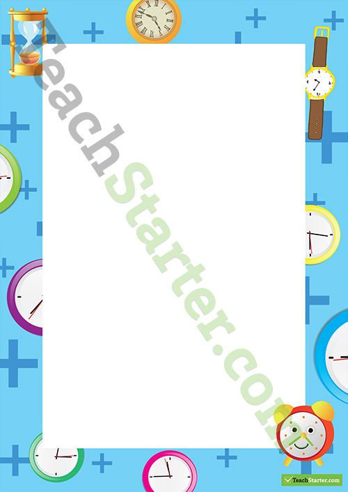 Time And Clocks Page Border Word Template Teaching Resource