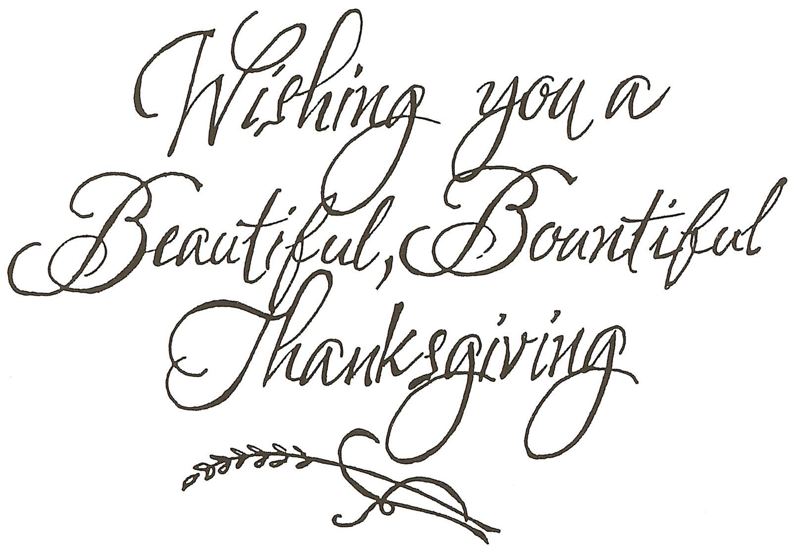 A Bountiful Thanksgiving Text Wood Mounted Rubber Stamp NORTHWOODS NEW M4486