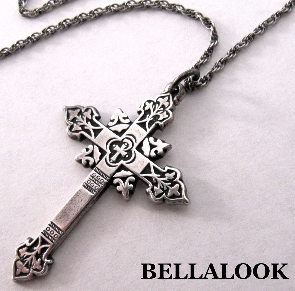 James Avery Mens Cross Necklace: SIGNED JAMES AVERY STERLING SILVER ORNATE RELIGIOUS CROSS