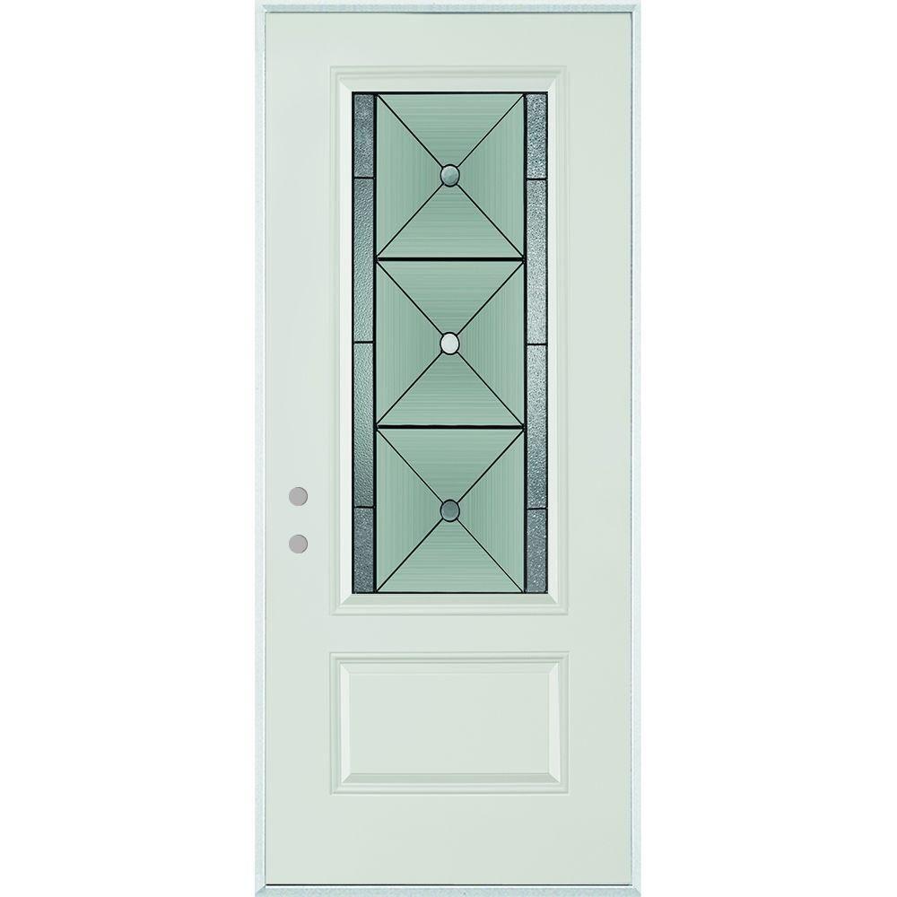 Stanley Doors 36 In X 80 In Bellochio Patina 3 4 Lite 1 Panel Painted White Right Hand Inswing Steel Prehung Front Door 1540e Bn 36 R P Stanley Doors Steel Entry Doors Steel Doors Exterior