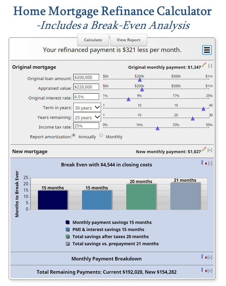 Refinance Mortgage Calculator  Amortization Schedule And