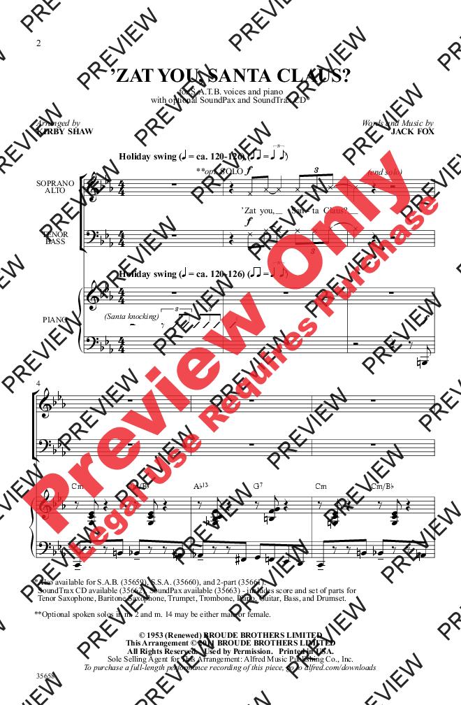 Zat You, Santa Claus? (SATB ) by Jack Fox/ar | J.W. Pepper Sheet Music | Broadway songs, Sheet ...