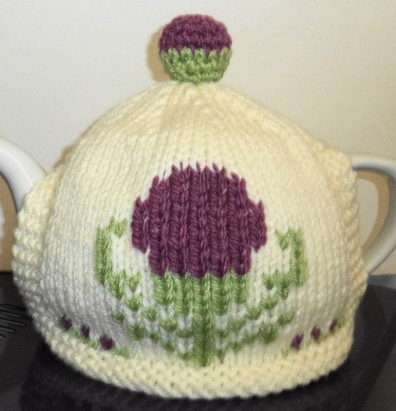 Scottish thistle hand knitted tea cosy one of by peerietreisures ...