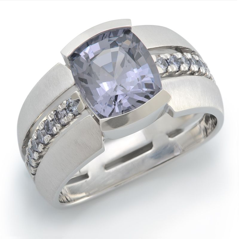 Deco 167-G01M: 4.24ct Violet Grey Spinel set in Platinum accented with Natural Fancy Intense Greyish Bluish Violet Diamonds.