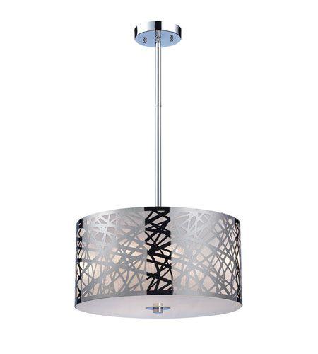 "ELK Lighting Tronic 3 Light Pendant in Polished Stainless Steel 31053/3 $300 16"" Diam."