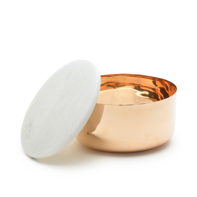 Kobberskål m/ marmorlåg Ø: 12cm