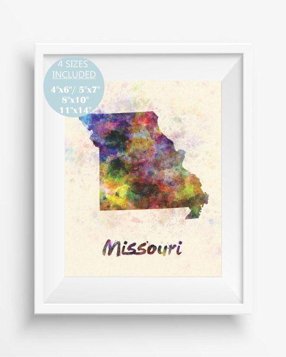 Missouri MapMissouri US StateAmerica WatercolorDigital Prints