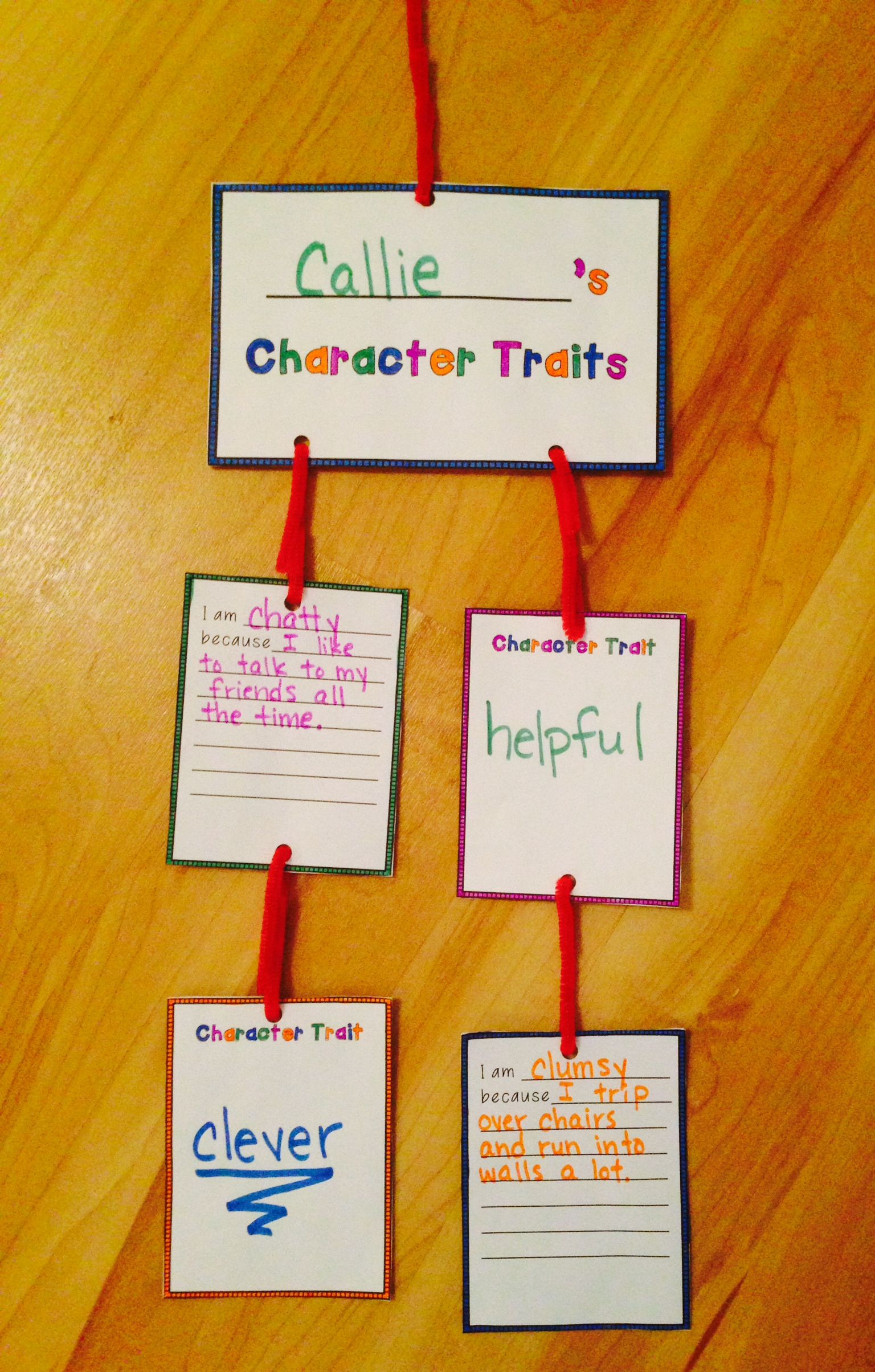 Classroom Mobiles Ideas : Freebie character traits mobile students describe