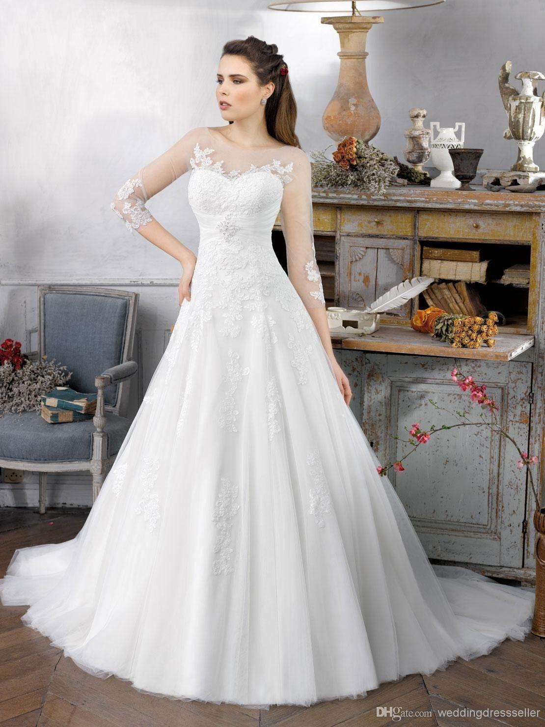 2014 A Line Organza Appliques Long Sleeves Zipper Bridal Gown Wedding Dress