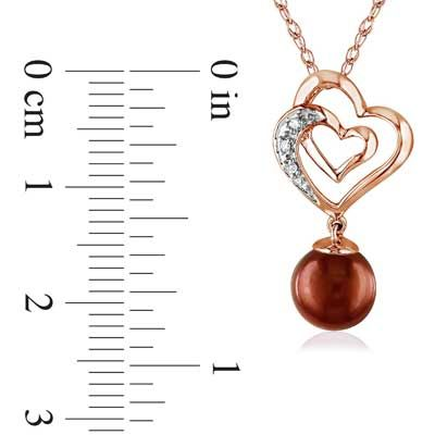 "7.0-7.5mm Brown Cultured Freshwater Pearl and Diamond Heart Pendant in 10K Rose Gold - 17"" - Zales"