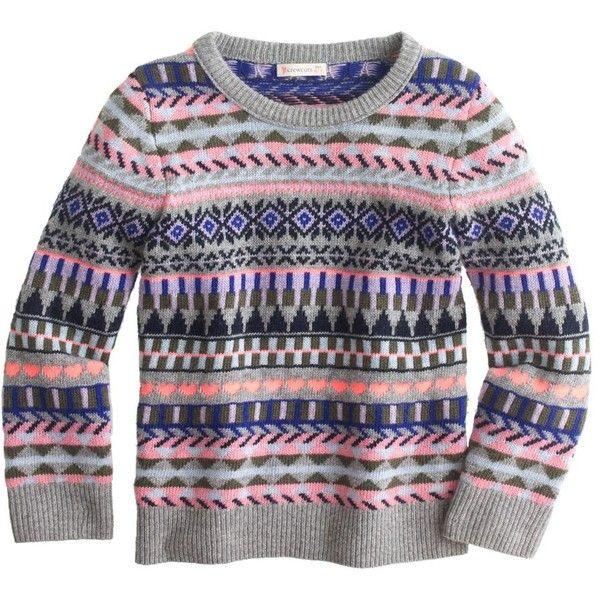 J.Crew Girls' festive Fair Isle sweater (185 BRL) ❤ liked on Polyvore featuring kids