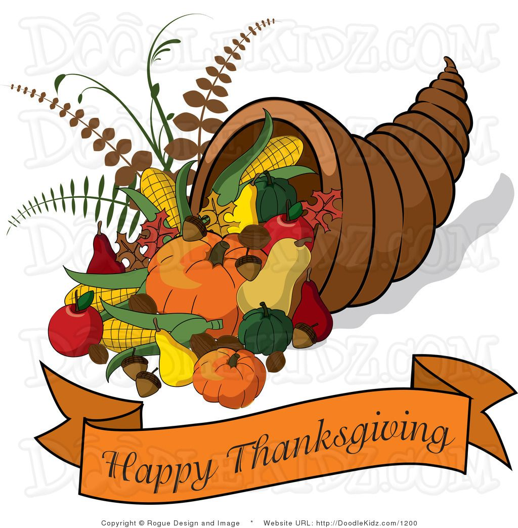 Cornucopia With A Happy Thanksgiving Banner By Pams