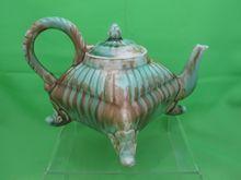 Antique Majolica Square Footed Mottled Tea Pot