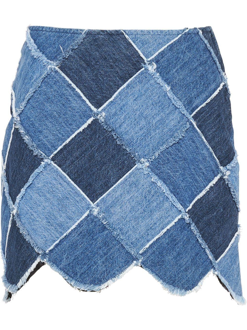 Blue cotton patchwork denim skirt from MIU MIU featuring high waist, scallop hem, thigh-length and argyle patchwork.