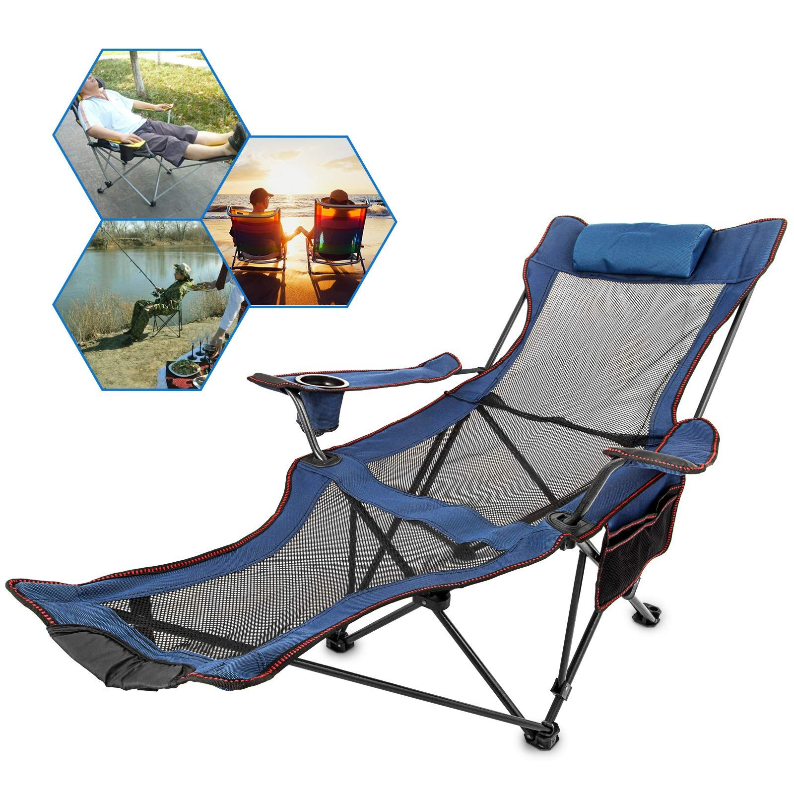 Happybuy Blue Folding Camp Chair With Footrest Mesh Lounge Chair With Cup Holder And Storage Bag Folding Camping Chairs Camping Chairs Reclining Outdoor Chair