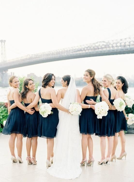 2017 Navy Blue Backless Beach Wedding Bridesmaid Dresses Gowns
