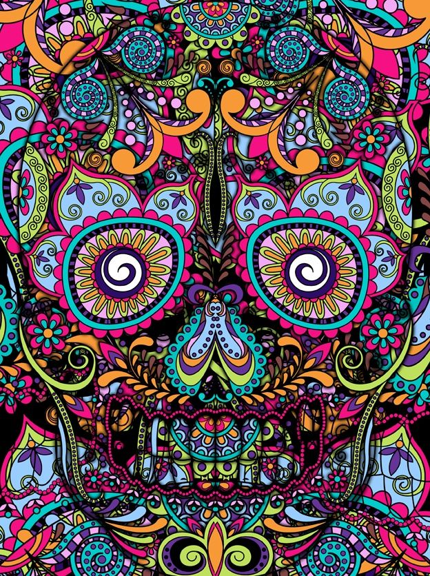 Love The Bright Colors Of This Skull