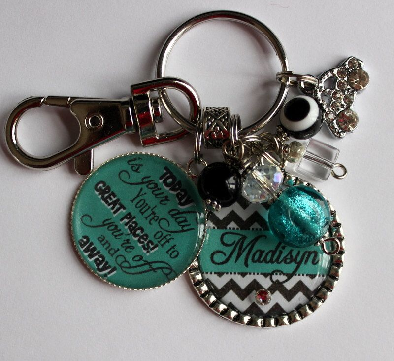 Sweet 16 key chain,  Today is your day you're off to great places you're off and away, PERSONALIZED custom, driver, graduation gift, chevron by TrendyTz on Etsy https://www.etsy.com/listing/217287314/sweet-16-key-chain-today-is-your-day