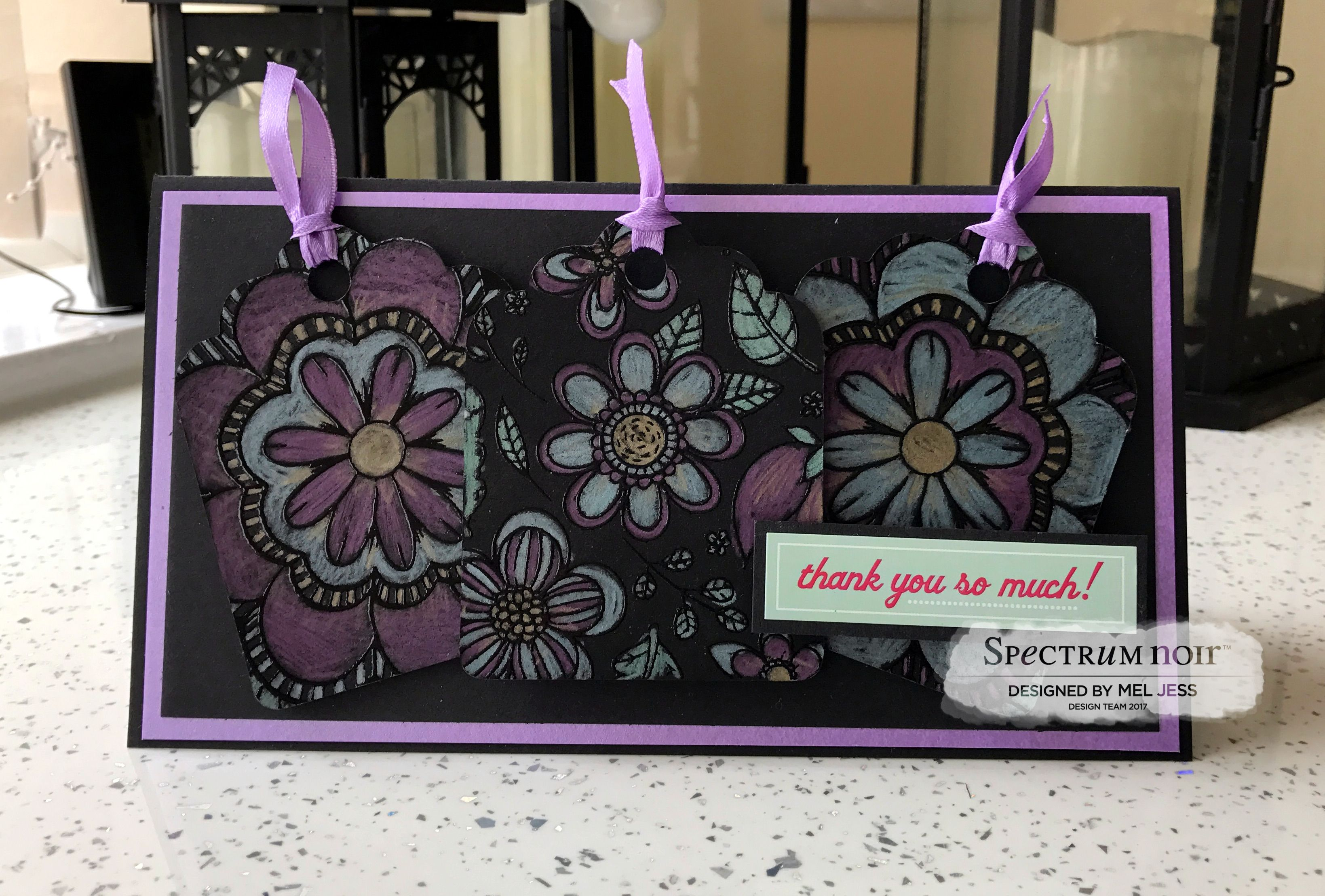 Tag Card made for Colorista Darks and Metallic Pencils by Mel Jess #crafterscompanion #spectrumnoir