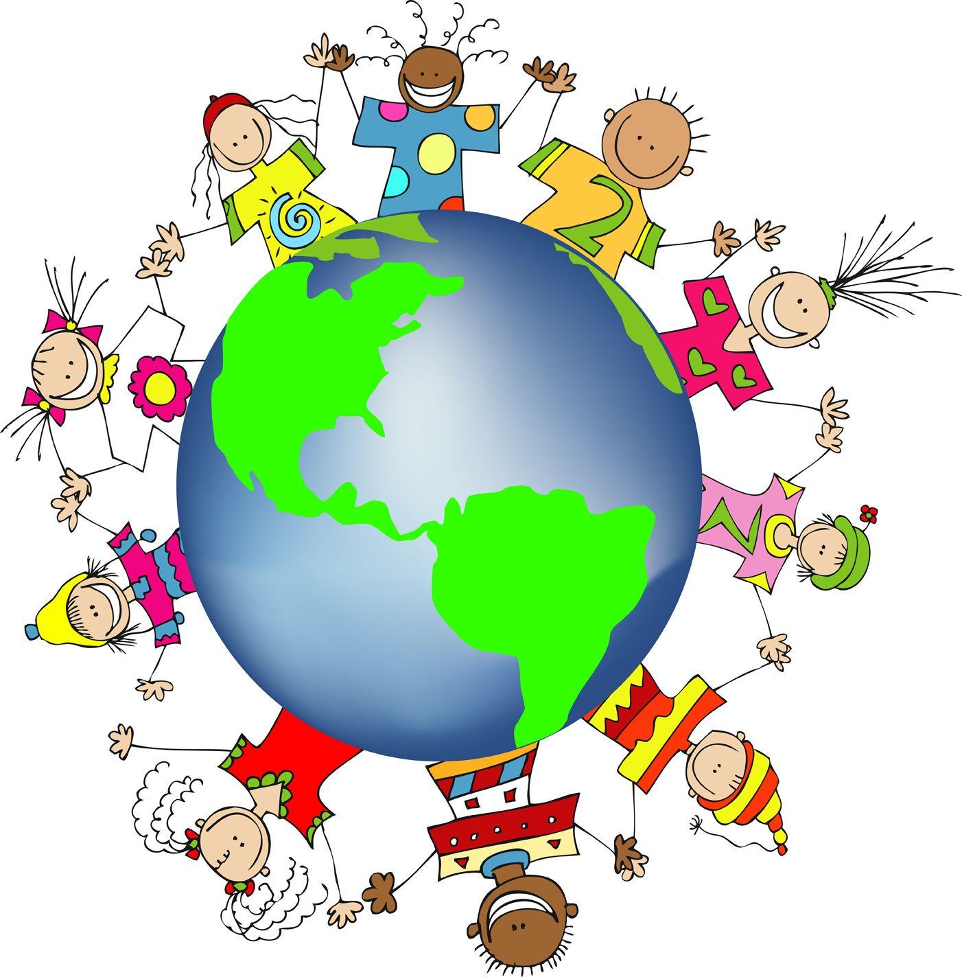 kids world hands friends networks globe illustration small free  [ 1402 x 1423 Pixel ]