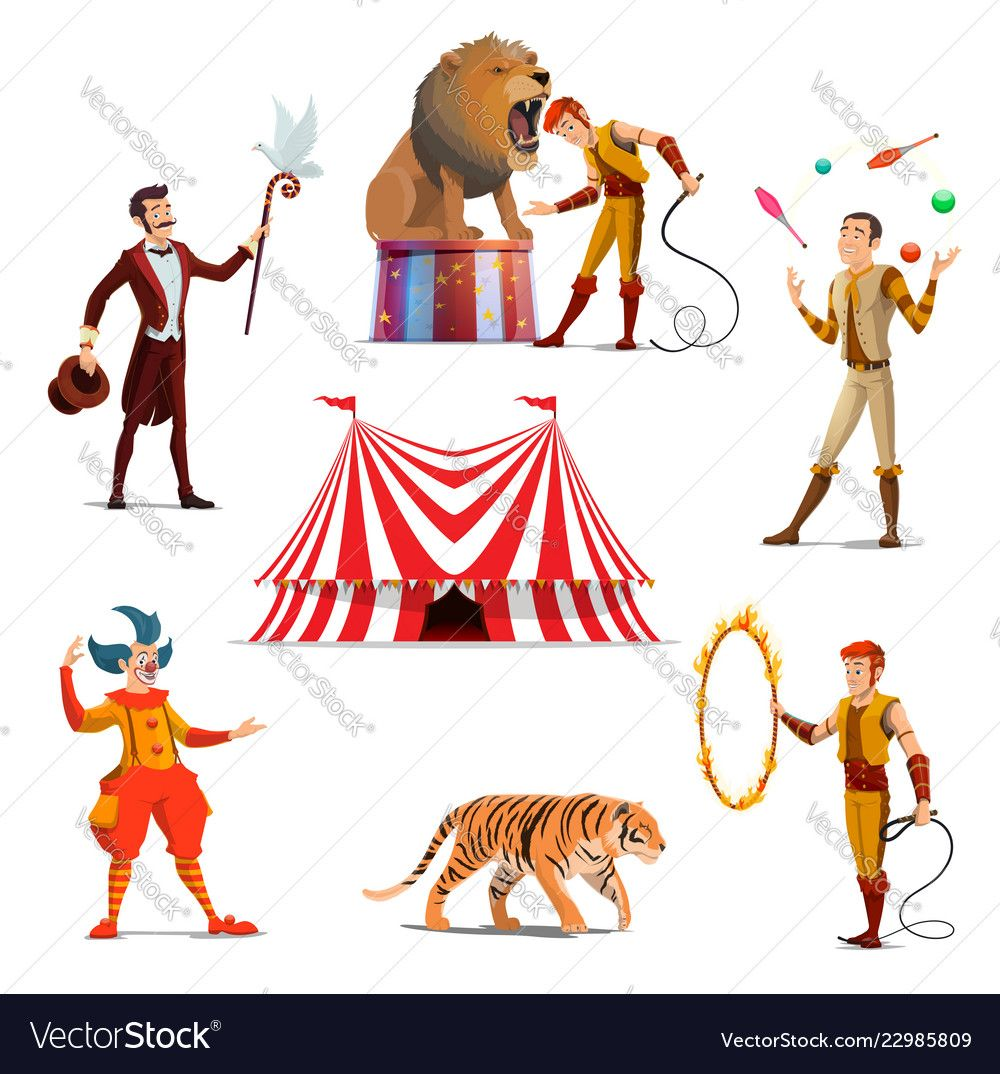 Circus big tent trainer magician clown juggler Vector Image