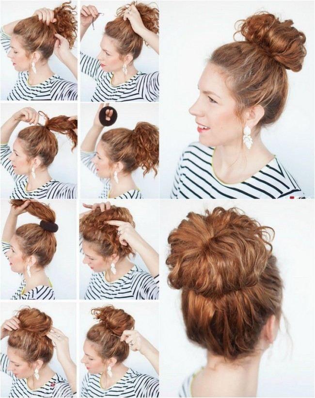 Frisur Für Mittellanges Lockiges Haar Hoch Gesteckter Dutt