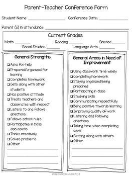 Conference Forms & Letters | Conferences | Parent teacher