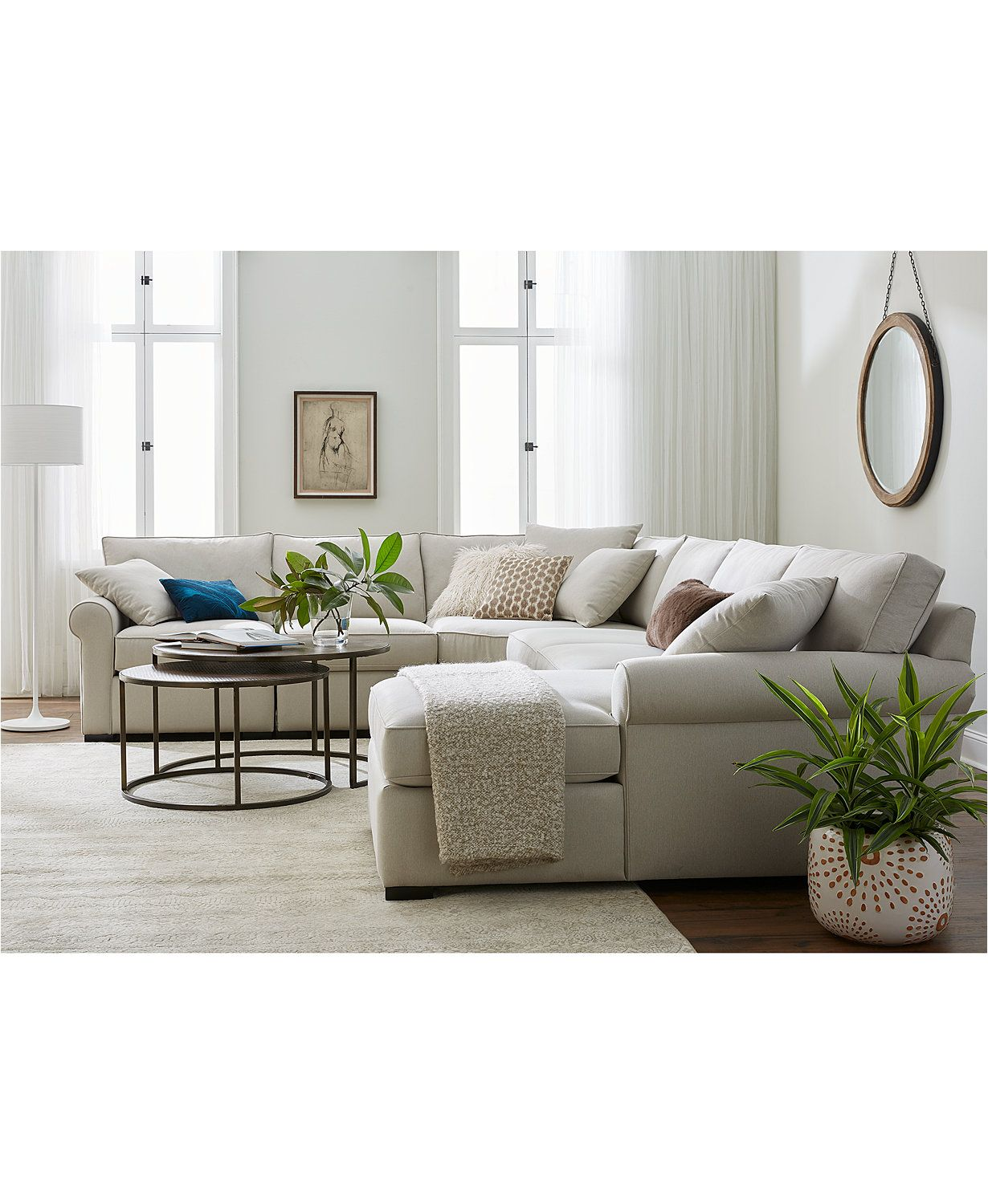 Closeout Astra 5 Pc L Shaped Fabric Sectional Created For Macy S